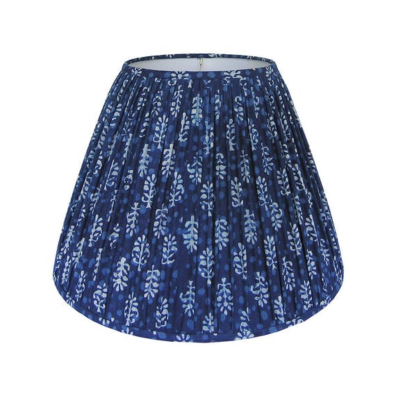 Blue gathered lamp shade indigo blue lampshade indian block like this item aloadofball Choice Image