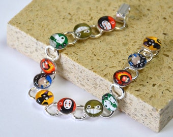 Totoro & Studio Ghibli Friends Glass Bracelet - Silver - princess mononoke accessory totoro howls moving castle noface forest spirit kiki