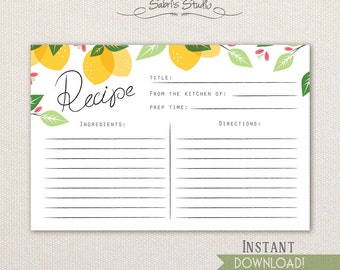 Printable Recipe Card, Lemons,4x6 recipe cards, Instant Download, recipe cards