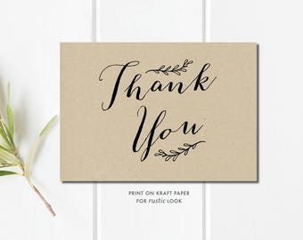 wedding thank you printable template thank you card template