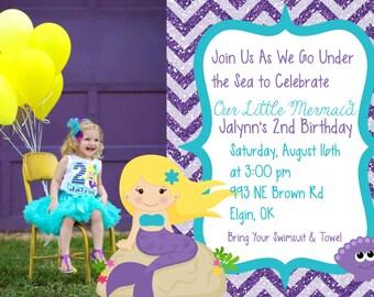 Aqua and Purple Glittered Chevron Mermaid Birthday Invitation
