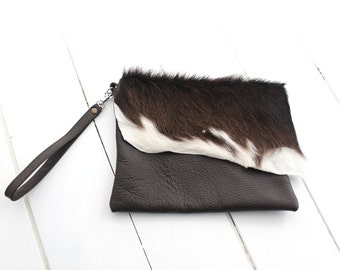 Brown Cow Hide Clutch, Hair on Hide Bag, Brown Leather Clutch, Fur Clutch