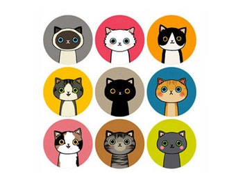 18 kawaii cats stickers