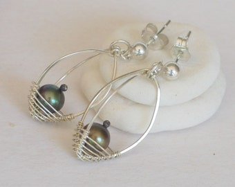 Artisan Sterling Silver and Freshwater Pearl Earrings - Pearl Pods, Handmade, Wire Wrapped