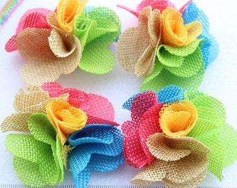 10pcs Colorful Wedding Burlap Flowers Shabby Chic Rustic Burlap Flowers Wedding Decoration,Baby Headband,Corsage,Bouquet FZ0163