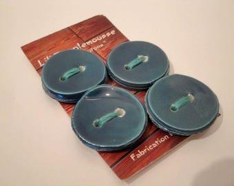 Card of 4 round ceramics  buttons: petrol blue, 3 cm