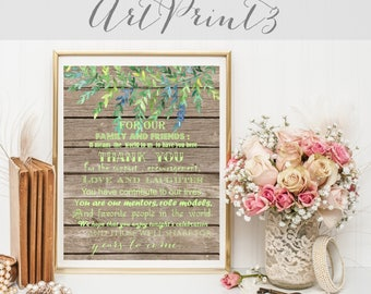Thank You Wedding Sign Printable, Rustic Wedding Sign, Navy Thank You Wedding Sign, Floral Wedding To Our Family And Friends Sign