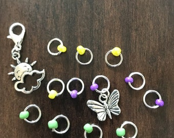 Sunshine and Butterflies Stitch Marker Set, ring markers, knitting supplies, notions, stitchmarkers, knitter gift, progress keeper