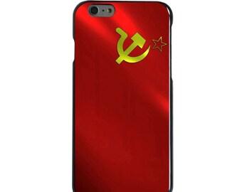 Hard Snap-On Case for Apple 5 5S SE 6 6S 7 Plus - CUSTOM Monogram - Any Colors - USSR Soviet Flag Waving