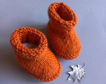 Slippers boots, baby, handmade, terracotta orange color