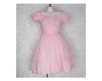 Pink Chiffon 1950s Party Dress / XS Pink '50s Dress
