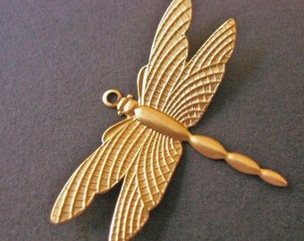 10pc Dragonfly Charm 36x28mm, Brass Insect, Jewelry Findings