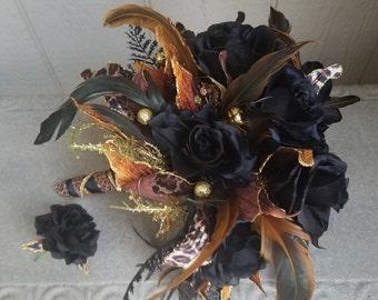 Leopard Bouquet / Wedding Bouquet Black and Gold
