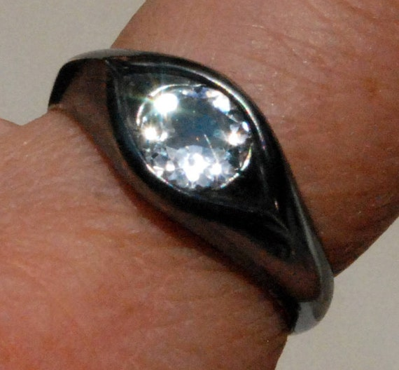 Large Sterling Silver and White Topaz Eye Ring-size 8.25