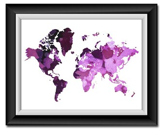 INSTANT DOWNLOAD World Map Purple Lilac Watercolor Print Poster Printable Landscape Art Wall Decor Modern Abstract Minimalistic Geography