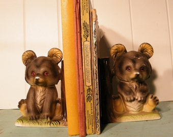 Book Ends Teddy Bears  Bisque Porcelain