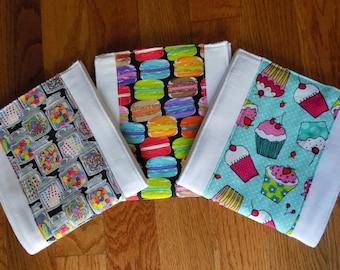 Set of 3 Sweet Treats Burp Cloths - Baby Shower Gift - Baby Girl