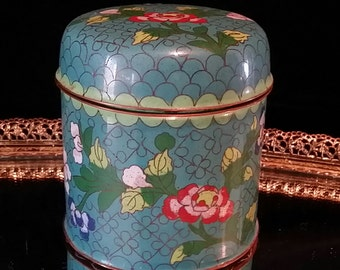 Asian Cloisonné Tea Caddy Cannister Enameled Brass Chinese Japanese Enamel Art