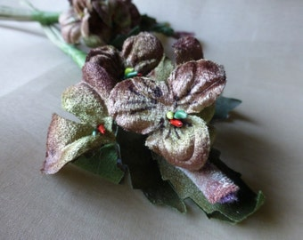 Mocha Velvet Millinery Pansies for Boutonnieres, Bouquets, Corsages, Hats MF 206
