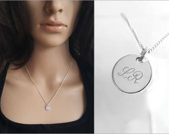 Sterling Silver Engraved Initial Necklace, 925 Necklace, Personalized Jewelry, Customized Necklace, Dainty Charm