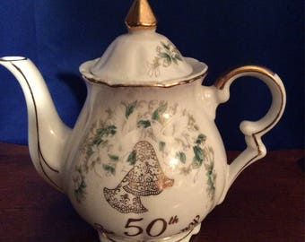 Antique Lefton Bone China 50th Anniversary Hand painted Teapot