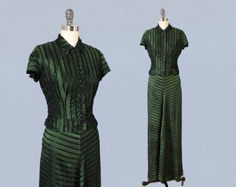 1930s Dress / 30s Iridescent Green and Black Striped Evening Gown / Two Piece Set / Jacket / Blouse and Dress