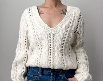 Vintage, Handmade, Home-Made, Hand-Knit, Lighter-Weight, Deep-V, V-Neck, Cream, Off-White, Long-Sleeve, Knit, Sweater, Top