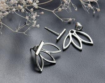 Ear Jacket earrings, Lotus flower earrings, Boho Earrings, Lotus earrings, flower earrings, posts studs earrings, Yoga style earrings
