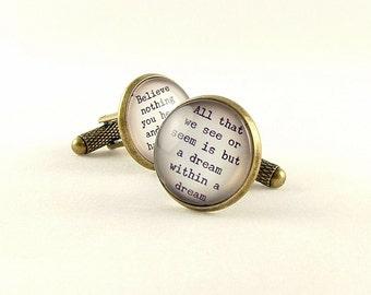 Gift For Him - Edgar Allan Poe Cufflinks - Dream Within A Dream - Literature Gifts for Husband Boyfriend - Gothic Gift Idea