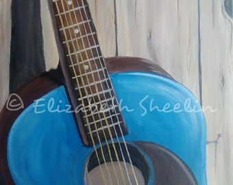 Blue Guitar - Original Acrylic Painting 16x20