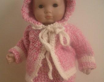 15 inch doll crocheted cardigan set