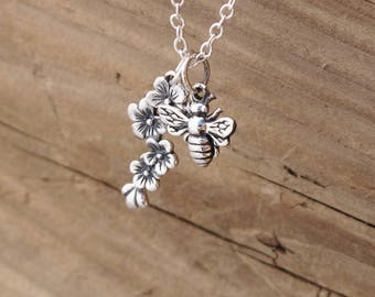 Sterling Silver Bee And Cherry Blossom Flower Charm Pendant Necklace Yoga Insect Worker Bee