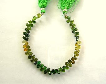 "Shaded chrome green tourmaline faceted pear bead AA+ 5.5-6.5mm 7.5"" strand"