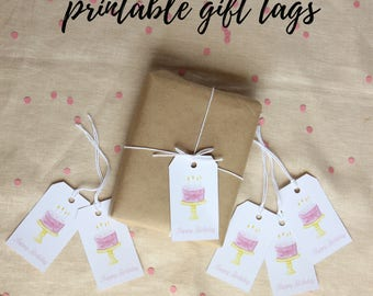 Birthday Gift Tag, Gift Tags Printable, Cake Printable, Party Decorations, Party Favor Tags, Pink Birthday, Pink Party Favors, Favor Tags