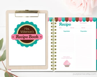 Personalized cook book, custom recipe book, printable recipe pages, divider tabs and pages, teal and pink recipe binder, Letter size