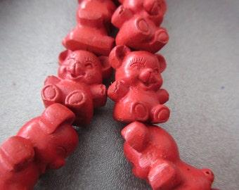 Carved Red Cinnabar Teddy Bears Beads 4pcs