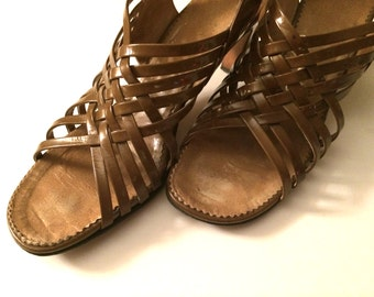 Vintage Shoes Women's 70's Montes Shoes, Boho, Brown, Strappy, Heels, (Size 7)