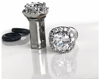 Pair of Square CZ halo stud wedding plugs for gauged or stretched ears: Sizes 4g 2g 1g 0g 5mm 6mm 7mm 8mm