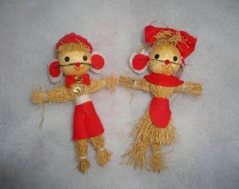 Vintage Straw Felt Mice Couple Ornament, Straw Mouse Ornament, Straw Felt Mouse Ornament, Mice, Mouse, Christmas Mice, Cute Mice Ornaments