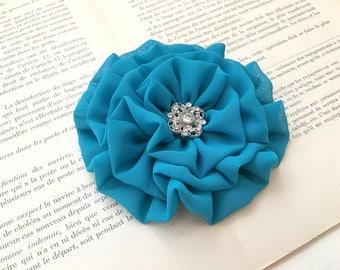 Teal Flower Hair Clip.Teal Flower Brooch.Teal Pin.headpiece.hair piece.wedding hair accessory.bridesmaid.fascinator.Light Teal.Flower Girl