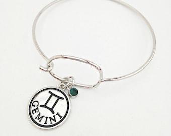 Gemini Charm Bracelet, Gemini jewelry, zodiac bracelet, zodiac jewelry, birthstone bracelet, June birthday gift, June Birthstone, Gift Mom