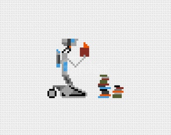 Need Input - Johnny Five - Short Circuit  - Cross Stitch Pattern (PDF) - INSTANT DOWNLOAD
