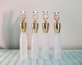 Japanese Perfume Bottles Frosted Glass Geisha Asian Empty Small Bottle Screw Top - 4 included