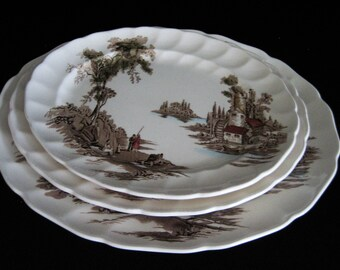 Set of 3 Serving Platters The Old Mill Brown Multicolor by Johnson Brothers ( 11, 12, 13 inch )