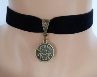 velvet choker, gemini choker, star sign necklace, stretch ribbon, black velvet, heart charm