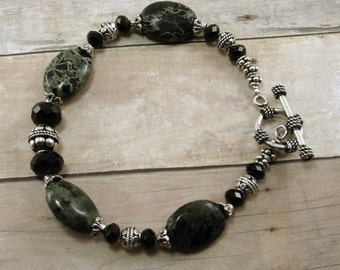 Kambaba Jasper, Bali Silver, and Jet Crystal Bracelet