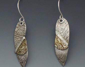 Sterling and Copper Mokume Dangle Earrings