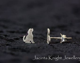 Tiny (0.6 cm) sterling silver dog stud earrings