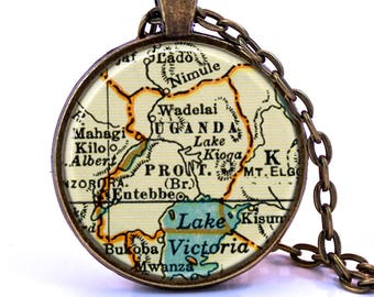 Uganda Map Pendant Necklace - Created from a 1937 map. Map Jewelry, Map Necklace, Map Pendant, Custom Jewelry, Personalized Jewelry