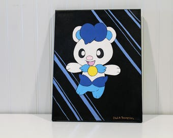 Pokemon Inspired Wall Art,Hand painted on Canvas,Own design, Blue and White bear